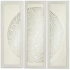 "Pini Woven Ivory 47"" High Mirrored Wall Art Set of 3"