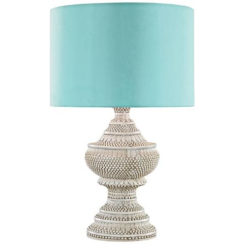 Kokopo Antique White with Sea Green Shade Outdoor Table Lamp