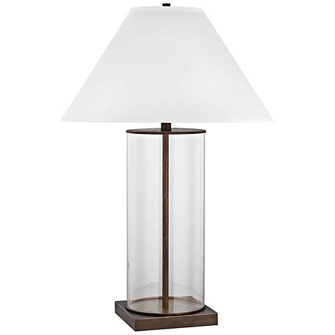 Park Slope Dunbrook Bronze and Clear Glass Table Lamp