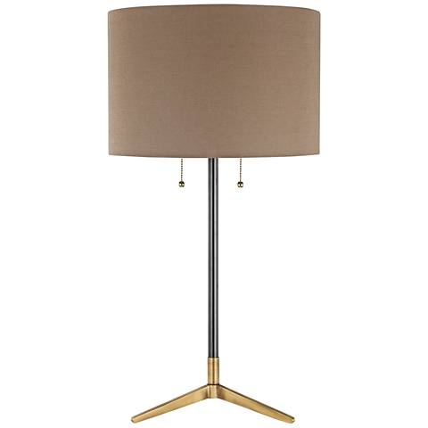 Clubhouse Black and Antique Brass Metal Table Lamp