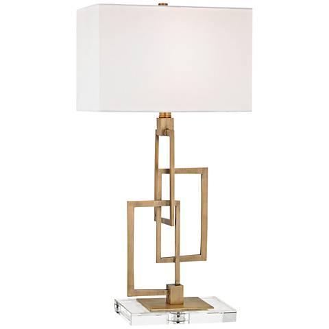 Duet Antique Brass Metal Table Lamp