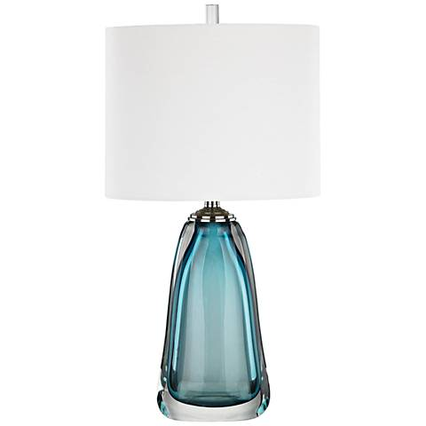 Ms. Poole Blue Glass Table Lamp