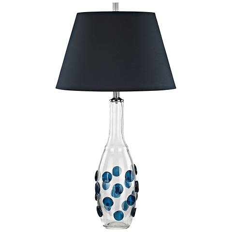 Confiserie Clear and Blue Glass with Blue Shade Table Lamp