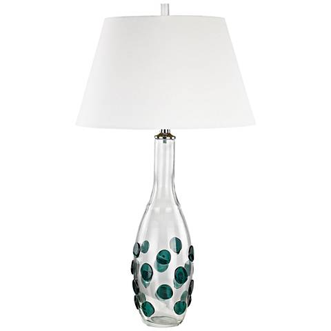 Confiserie Clear and Green Glass with White Shade Table Lamp