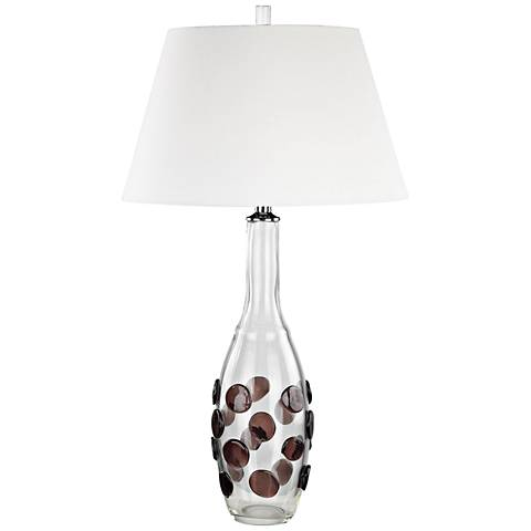 Confiserie Clear and Garnet with White Shade Table Lamp