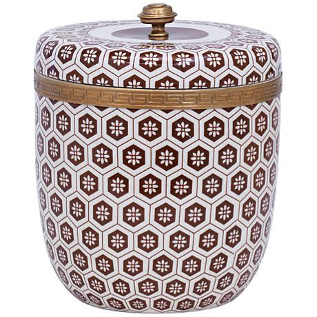 Port 68 Kenilworth Brown Decorative Round Porcelain Box
