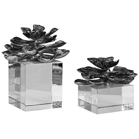 Uttermost Korba Silver and Crystal 2-Piece Indian Lotus Set