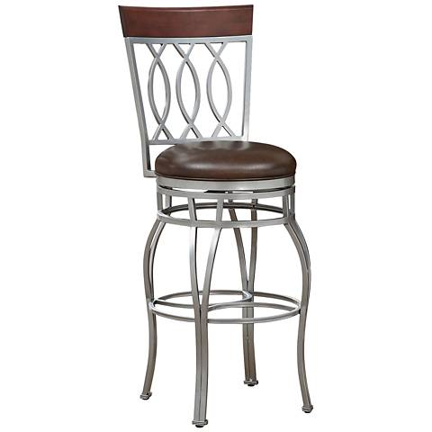 "Bella 30"" Bourbon Bonded Leather Swivel Barstool"