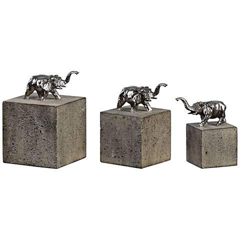 Tiberia Tarnished Silver 3-Piece Elephant Figurine Set