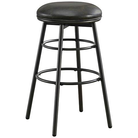 """Avery 26"""" Tobacco Bonded Black Leather Swivel Counter Stool"""