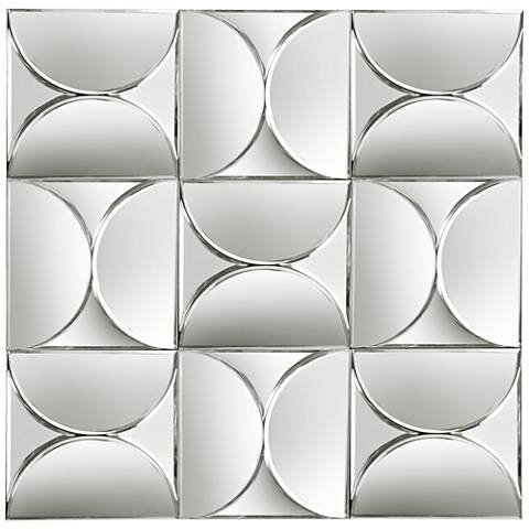 "Grid Mosaic 28 1/2"" Square Frameless Wall Mirror"