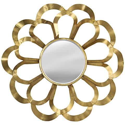 """Metallaflora Gold 39"""" Round Flower Wall Mirror"""