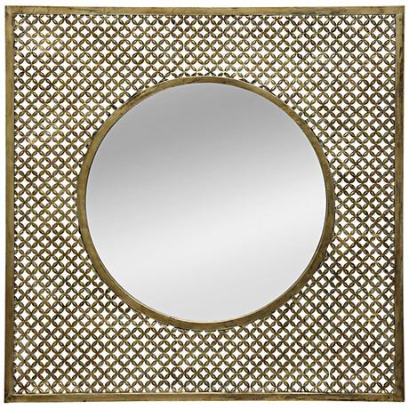 """Mini-Lattice Gold Foil 35 1/2"""" Square Wall Mirror"""