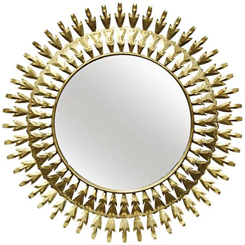 "Two-Way Arrows Gold Foil 30"" Round Sunburst Wall Mirror"