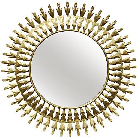 "Two-Way Arrows Gold Foil 30"" Round Sunburst Wall Mirror"