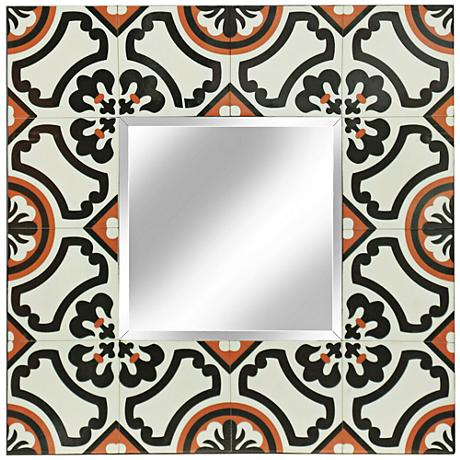 Tribbey Hand-Painted Black and Red Tile Square Wall Mirror