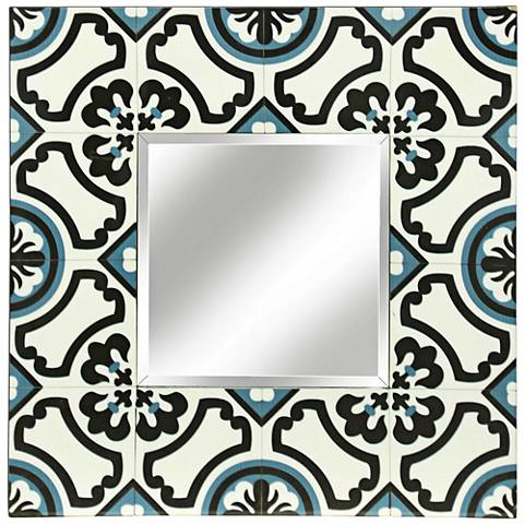 Tribbey Hand-Painted Black and Blue Tile Square Wall Mirror