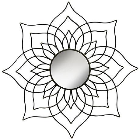 "Black Lotus 36"" Round Metal Flower Wall Mirror"