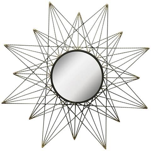 "Skylark Gunmetal 36"" Round Starburst Wall Mirror"