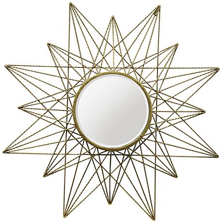 "Skylark Gold 36"" Round Starburst Wall Mirror"