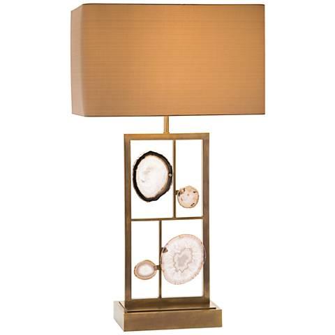 John Richard Floating 4-Agate Antique Brass Table Lamp