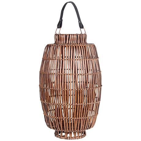 Tropicale Large Bamboo Lantern Votive Candle Holder