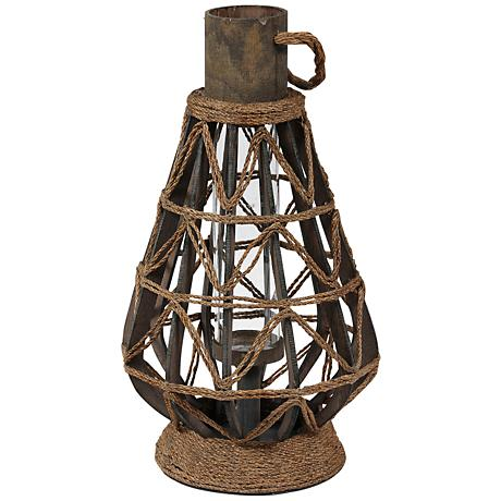 Midway Large Vintage Rope Lantern Votive Candle Holder