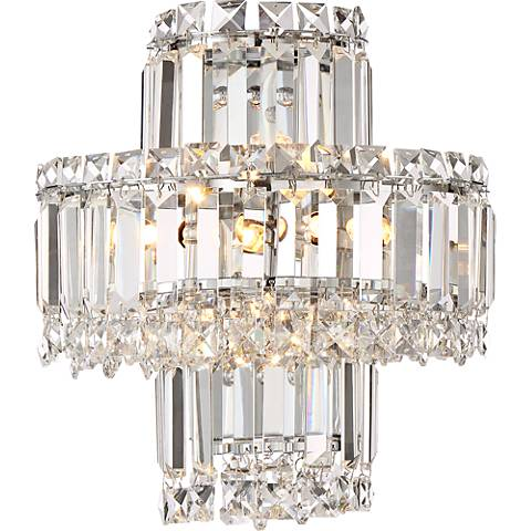 """Magnificence Chrome 12 1/2"""" High Crystal Wall Sconce"""