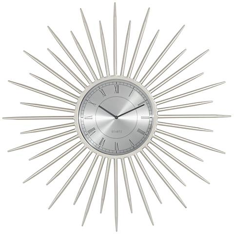 "Castallia Silver 28"" Round Metal Wall Clock"