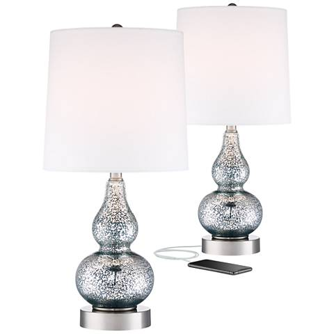 Castine Blue Mercury Glass Table Lamp With USB Port Set Of
