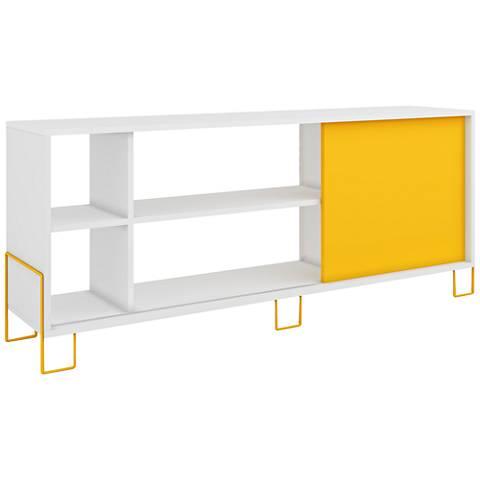 Eye-Catching Nacka 2.0 White and Yellow 1-Door TV Stand