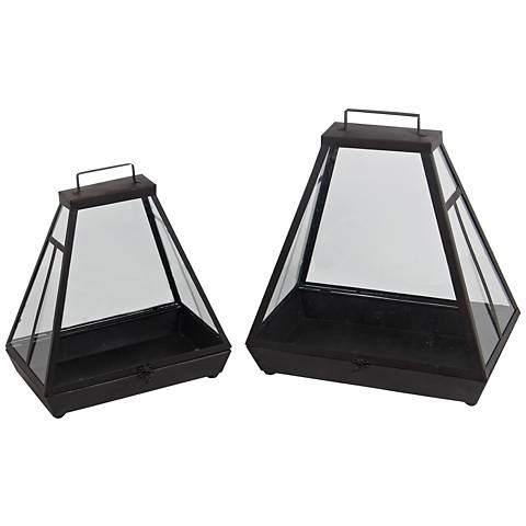 Hearth Black Votive Lantern 2-Piece Candle Holder Set