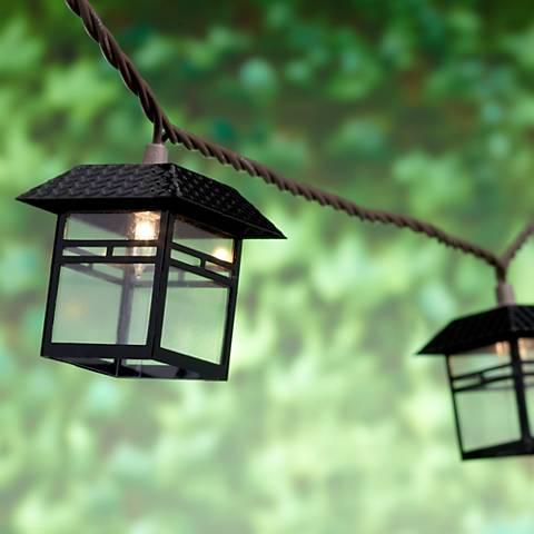 Mission Lantern Black 10-Light Outdoor String Light Set
