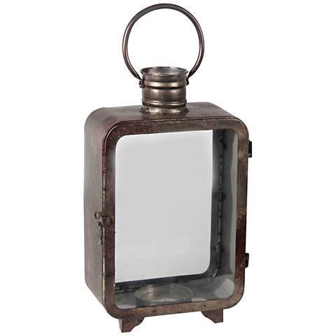 Chronos Large Vintage Gray Votive Candle Holder Lantern