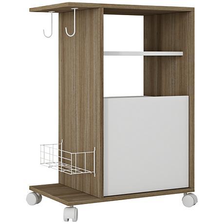 Modern Marina Oak and White Mobile Pantry