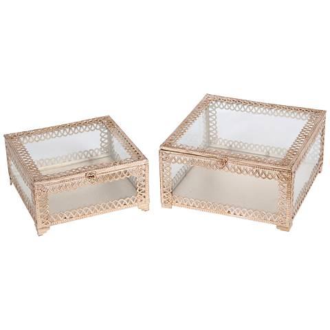 Trezo Square Champagne 2-Piece Glass Keepsake Box Set