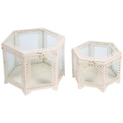 Trezo Octagon White 2-Piece Glass Keepsake Box Set