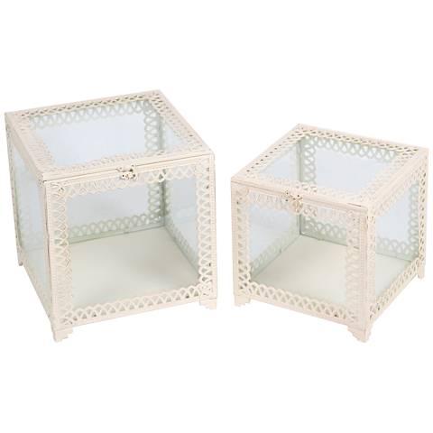 Trezo Square White 2-Piece Glass Keepsake Box Set