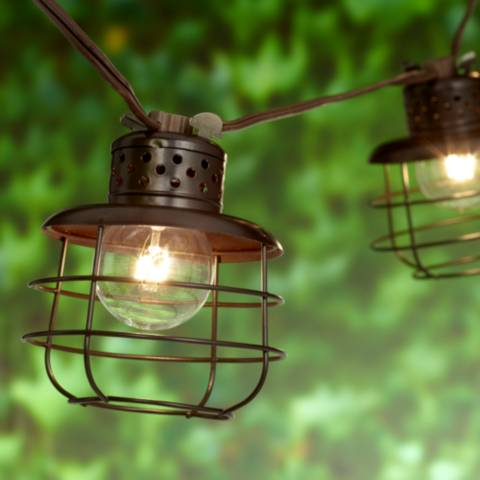 String Lights Lamps Plus : Cage Lantern Brown 10-Light Outdoor String Light Set - #9T903 Lamps Plus