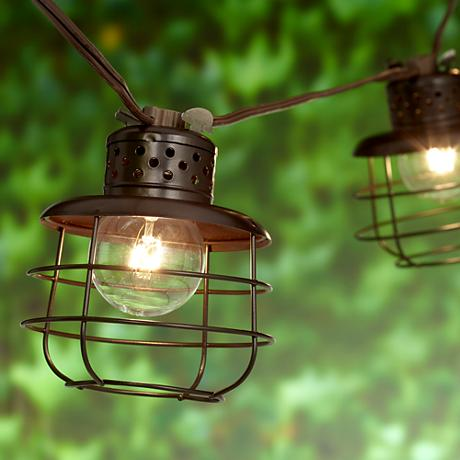 Cage Lantern Brown 10-Light Outdoor String Light Set - #9T903 Lamps Plus