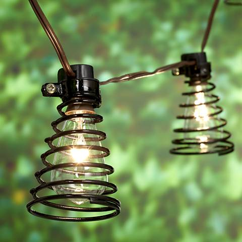 Spiral Black 10-Light Indoor-Outdoor String Light Set
