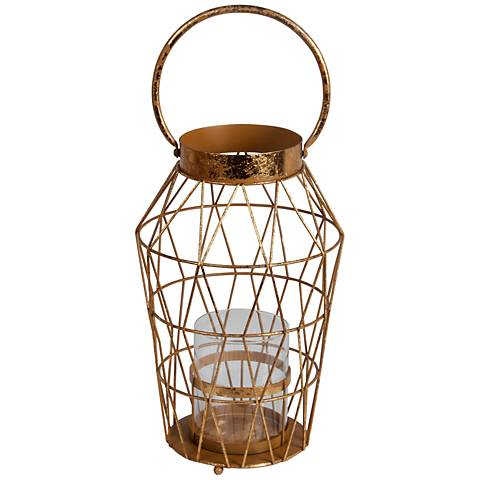 Andersen Large Gold Leaf Votive Candle Holder Lantern
