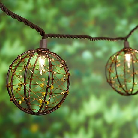 Gold Globe String Lights : Rattan Metal Cage Gold 10-Light Outdoor String Light Set - #9T925 Lamps Plus