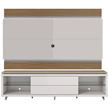 Lincoln TV Stand and 1.9 TV Panel in Maple Cream and White