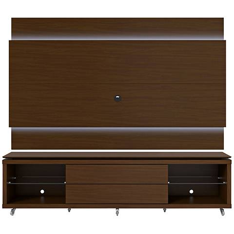 Lincoln TV Stand and 1.9 TV Panel in Nut Brown