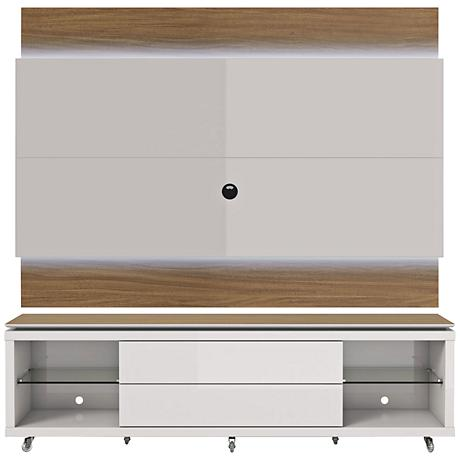 Lincoln TV Stand and 2.2 TV Panel in Maple Cream and White