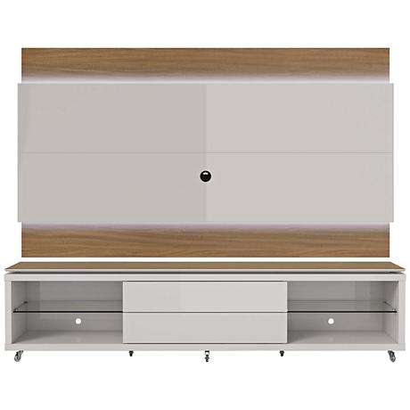 Lincoln TV Stand and 2.4 TV Panel in Maple Cream and White