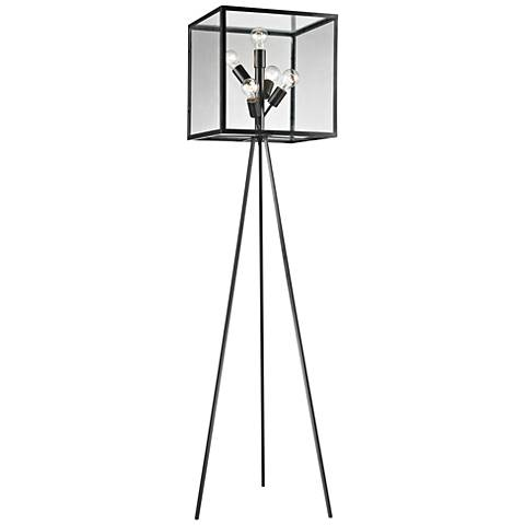 Dimond Workshop Glass Cube Aged Bronze Floor Lamp