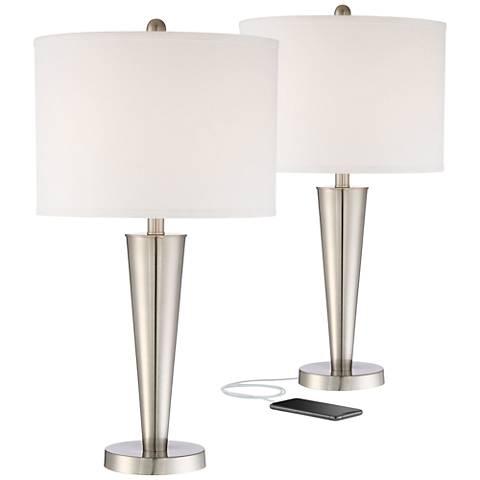 Geoff Brushed Steel USB Table Lamp Set of 2