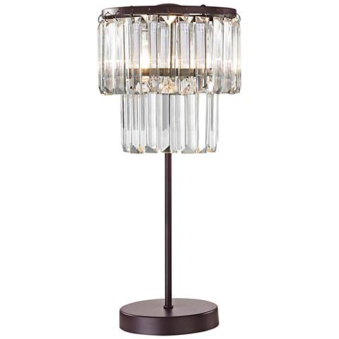 """Antoinette Bronze and Clear 18"""" High Crystal Table Lamp"""